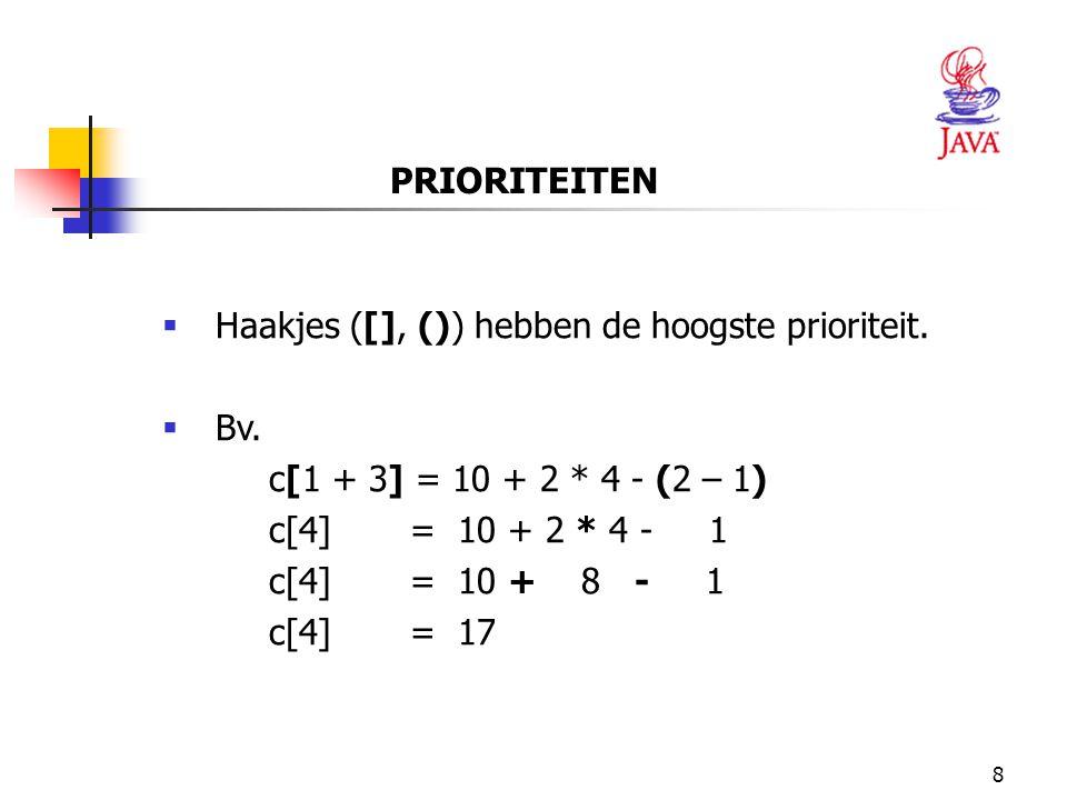 PRIORITEITEN Haakjes ([], ()) hebben de hoogste prioriteit. Bv. c[1 + 3] = 10 + 2 * 4 - (2 – 1) c[4] = 10 + 2 * 4 - 1.